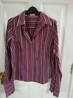 THOMAS PINK WOMENS PINK BROWN STRIPED SHIRT BLOUSE SIZE 14 PIT TO PIT 20 INCH