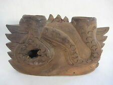 """Vintage Hand Carved Chinese Wooden Dragon Hanging Bell, 11"""" W X 6 1/2"""" H"""