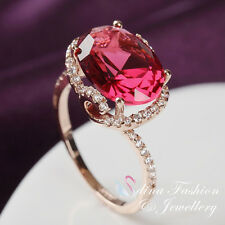 18K Rose Gold Plated Made With Swarovski Crystal Gorgeous Oval Cut Ruby Ring