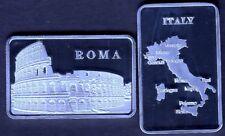 ★ JOLI LINGOT PLAQUE ARGENT ● L'ITALIE, ROME, LE COLISEE, GLADIATEURS