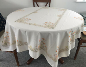 Vintage 1970's St Michael Country Kitchen Field Flowers Oblong TableCloth VGC