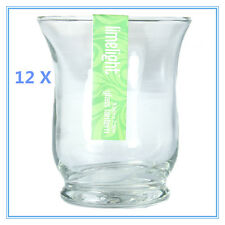 12 X TEALIGHT TEA-LIGHT CLEAR PREMIUM GLASS CANDLE HOLDER (7.5 X 9 cm)