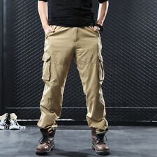 Mens Cargo Pants Pocket Trousers Fleece Jogger Winter Warm Army Military Comb