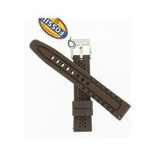Fossil 18mm Perforated Brown Silicone Watch Strap ESS153