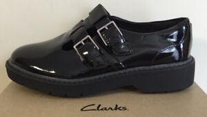 NEW Ladies Clarks Alexa Agnes black patent leather shoes UK Size 3.5 E EUR 36
