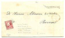 NEDERLAND 1868  LETTER CV WITH # 8 ( RETOUCHED ) LS.=VALKENBURG =  ALM. VF