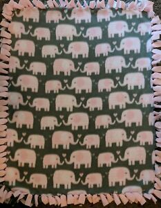 "Baby Infant Girl Fleece Pink Elephant Print Tie Tied Blanket 30""x23"""