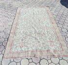 4.5' x 7.8' feet Vintage oushak pink Wool Rug floral salon living room area rug