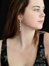 Kate Spade Linear Earrings 14Kt Gold Filled Pearl Clear Multi nwt drop dangle