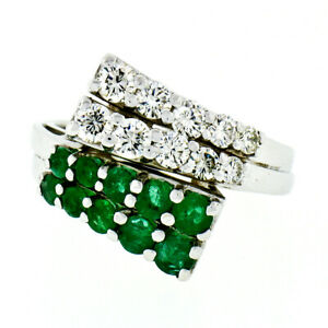14K White Gold 1.52ctw Round Brilliant Green Emerald & Diamond Bypass Band Ring