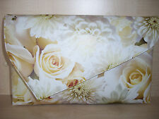 OVER SIZED FLOWERS & ROSES  asymmetrical clutch bag, stunning and rare!!