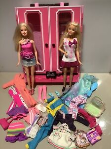 Barbie Doll Wardrobe With clothes & Shoes Bundle Lot