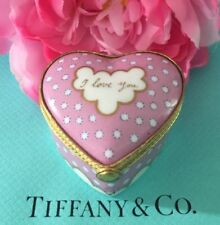 Tiffany & Co Heart Trinket Box Private Stock Limoges Pink Love You Hand Painted