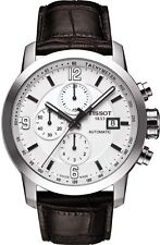 T0554271601700 Tissot PRC 200 Automatic Mens Watch White Dial Brown Leather NEW