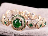 Turkish Handmade 925 Sterling Silver Emerald Green Stone Lady Woman Braceelet 09