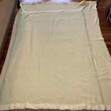 Vintage Sears Yellow waffle weave satin trim embroidered blanket 72 x 88