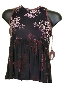 Knox Rose Blouse size Large Black w/raised velvety pink  Semi sheer Cute! NWT