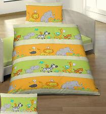 Baby Bettwäsche 100x135 cm Elefant, Krokodil, Löwe + Co orange grün BIBER B Ware