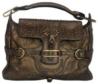 Stunning JIMMY CHOO Brown Bronze Tulita Handbag rare grommets EUC