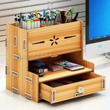Top Desk Organizer Wooden Pen Holder Box Storage Rack w/Phone Holder Drawer Home