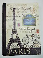 Tour Paris Bike Eiffel Tower Stash Hide Storage Box Accent Decor Beige Faux Book