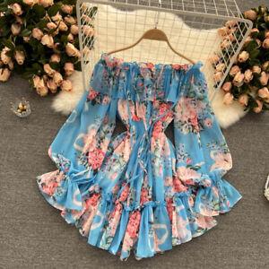 Women Jumpsuit Culotte Dress Off Shoulder Floral Puff Sleeve Ruffle Chiffon
