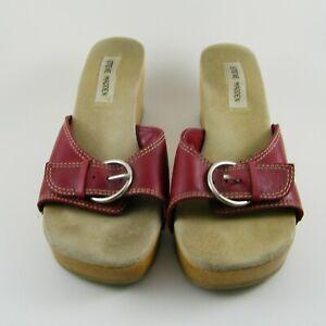 Steve Madden Platform Wooden Leather sandals Sz 9.5 B Made in Brazil ----011