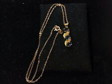 VINTAGE 14K YELLOW GOLD IOLITE PENDENT WITH CHAIN