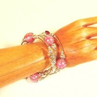Hot Pink Glass Pearl Shell Silver Tone Charm Handmade Wrap Coil Bracelet