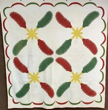 Early Pa c 1850s Princess Feather Applique Quilt Antique Turkey Red Mustard Gree