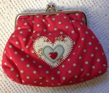 Retreat Red With Spots & Heart Decoration Make Up / Cosmetic Bag / Purse