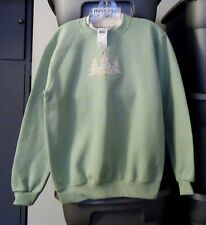 NEW WOMEN'S MORNING SUN TOP STITCH PALE GREEN CHRISTMAS SWEATSHIRT S $44 MSRP