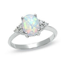 Promise Jewelry RING WHITE OPAL ALL GENUINE STERLING SILVER.925 SIZES 6 7 8 9 10