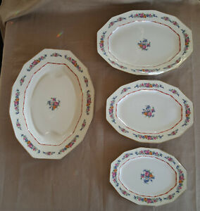 4 Limoges C Ahrenfeldt meat plate serving platters for Wright Tyndale gold trim