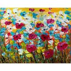 Spring Flowers Impasto Painting Oil on Canvas Daisies, Forget-Me-Not, Tulips