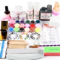 Pro Nail Art Acrylic Powder Liquid UV Primer Kit Glitter Tool Brush Tips DIY Set