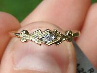 14K Yellow Gold 1 White Natural Diamond Vintage Engraved Milgrin Ring Size 7.75
