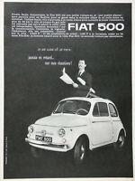 PUBLICITÉ DE PRESSE 1963 FIAT 500 JE ME GARE OÙ JE VEUX SUR MES CHANTIERS