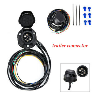 150CM RV 7PIN-Way Trailer Socket Plug Extension Cable Wiring Adapter Connector