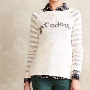 Anthropologie Moth Jet' Adore Cream Striped Sweater XL