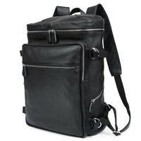 Black Men's Leather 15.6'' Laptop Backpack Shoulder Bag Travel Schoolbag Handbag