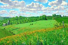 HAY BALES FARM FIELDS PLEIN AIR MINNESOTA ORIGINAL LANDSCAPE READY TO HANG