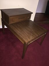 VTG Mid Century Modern Mersman Two Level Tier Step Side End Table Wood Laminate