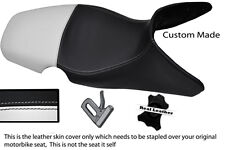WHITE & BLACK CUSTOM 01-07 FITS BMW F 650 GS REAL DUAL LEATHER SEAT COVER