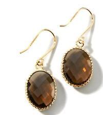 Technibond Smoky Quartz Gemstone Dangle Earrings 14K Yellow Gold Clad Silver