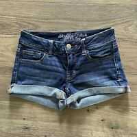 AMERICAN EAGLE OUTFITTERS Super Stretch Raw Hem Cutoff Denim Jean Shorts Size 0
