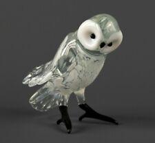 Owl Glass Figurine, Blown Art, White Polar Bird Sculpture