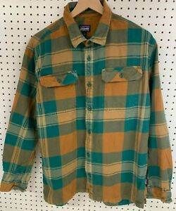 Patagonia Mens Flannel Long Sleeve Thick Organic Cotton Button Shirt Board sz L