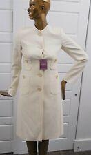 New Escada sz 34 Beige Lurex Wool Blend Long Jacket Coat