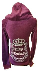 Juicy Couture Velour Hoodie - Wine Red w Silver Diamante Logo XS